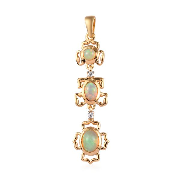 AA Ethiopian Welo Opal and Natural Cambodian Zircon Pendant  in 14K Gold Overlay Sterling Silver 1.1
