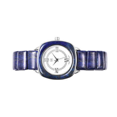 2 Piece Set - GENOA Japanese Movement Lapis Lazuli Water Resistant Watch in Stainless Steel and Stretchable Bracelet (Size 6.50) 363.50 Ct.