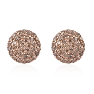 9K Rose Gold SGL Certified Champagne Diamond (I3) Solitaire Earrings (with Push Back) 0.33 Ct.