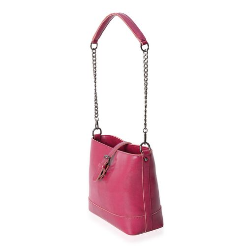 Close Out Deal 100% Genuine Leather Fuchsia Colour Shoulder Bag with Zipper Pocket with Removable Strap (Size 23x20.5x10.5 Cm)