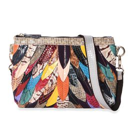 100% Genuine Leather Multicolour Leaf Applique Pattern Clutch Bag with Detachable Shoulder Strap and