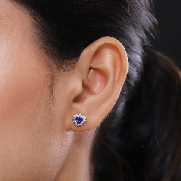 RHAPSODY 950 Platinum  AAAA Tanzanite Diamond  (VS/E-F) Solitaire  Earrings 1.00 Ct (screw back).