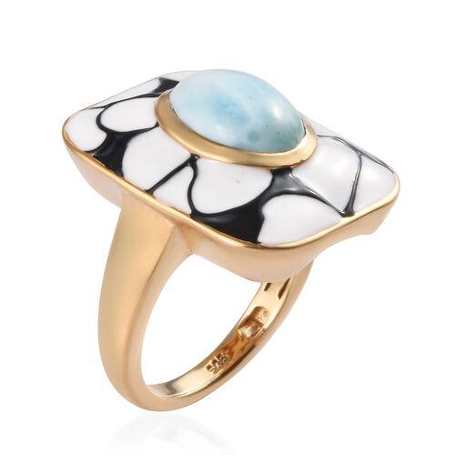 Designer Larimar Ring in 14K Gold Overlay Sterling Silver 3.25Ct, Silver wt 6.80 Gms