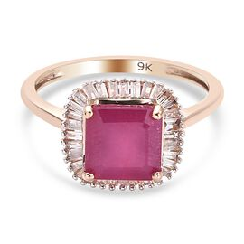 9K Rose Gold AA African Ruby (FF) and Diamond Ring 2.88 Ct.