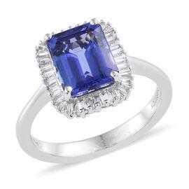 RHAPSODY 950 Platinum AAAA Tanzanite (Oct), Diamond (VS/F) Ring 2.600 Ct., Platinum wt 5.32 Gms.