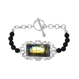 47 Carat Labradorite and Black Agate Beaded Bracelet in Platinum Plated 7.50 Inch