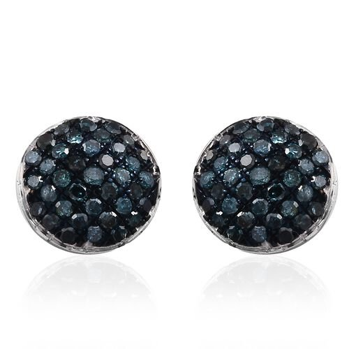 Blue Diamond (Rnd) Stud Earrings (with Push Back) in Platinum Overlay Sterling Silver