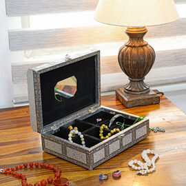 Elephant Embossed Handcrafted Jewellery Storage Box with Inside Mirror and Black Velvet Lining - Whi