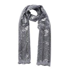 Scallop Pattern Sequin Scarf (Size 58x190 Cm) - Slate Silver