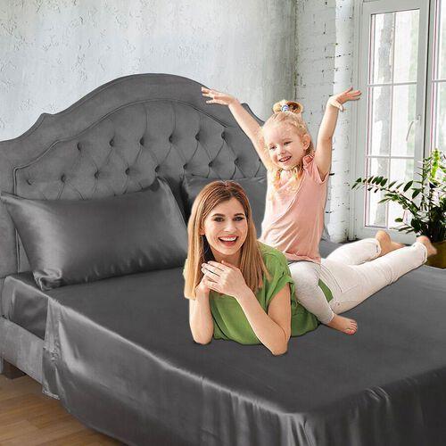 4 Piece 100% Bamboo Bedding Set - incld. Flat Sheet (230x265cm), Fitted Sheet (140x190+30cm), 2 Pill