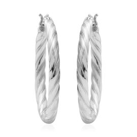 Designer Inspired - Sterling Silver Twisted Hoops (with Clasp), Silver wt. 5.04 Gms.