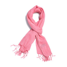 New Season Living Coral Colour Linen Handloom Woven Scarf (Size 180x70 Cm)