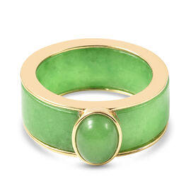 Green Jade Ring in Yellow Gold Overlay Sterling Silver 25.75 Ct.