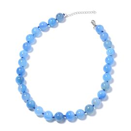 Blue Agate Beaded Necklace (Size 18 with 2 inch Extender) in Stainless Steel 530.00 Ct.