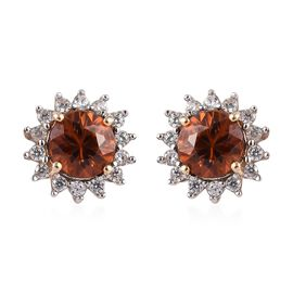 9K Yellow Gold AAA Natural Red Zircon (Rnd), Natural Cambodian Zircon Stud Earrings (with Push Back)