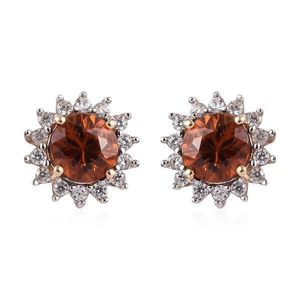 AAA Natural Red Zircon and Zircon Floral Stud Earrings in 9K Yellow Gold