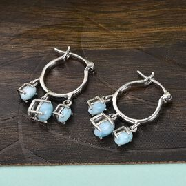 GP Itallian garden Leaf & Flower Collection- Larimar & Kanchanaburi Blue Sapphire Earrings (with Clasp) in Sterling Silver 2.25 Ct.
