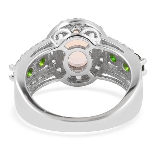 Ethiopian Welo Opal (Ovl 1.25 Ct), Natural White Cambodian Zircon and Russian Diopside Ring in Rhodium Overlay Sterling Silver 2.780 Ct.