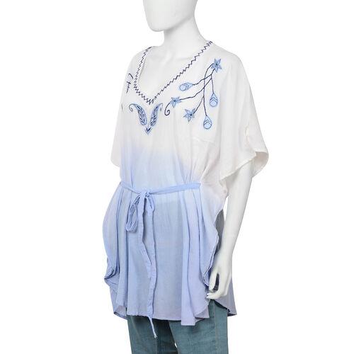 100% Cotton Embroidered V Neck kaftan with Asymmetric Hem (Size 85x85 Cm) - Blue
