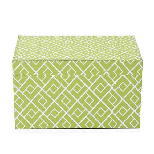 Green and White Colour Abstract Pattern Foldable Storage Box (Size 25x16x14.5 Cm)
