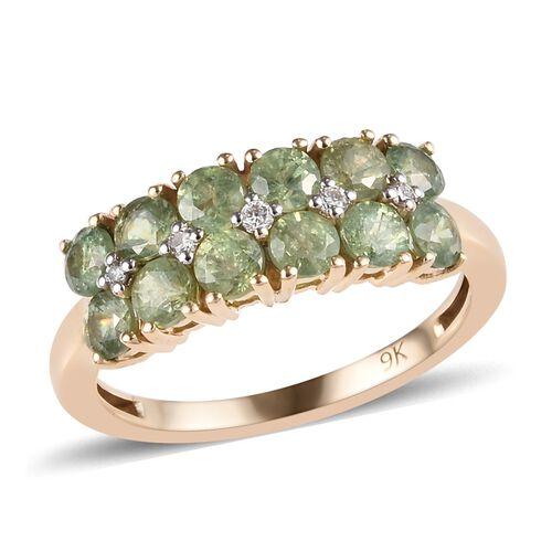 AA Russian Demantoid Garnet and Diamond Ring in 9K Yellow Gold 2.31 Grams,1.75 Ct