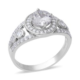 ELANZA Simulated Diamond Halo Ring in Rhodium Plated Sterling Silver