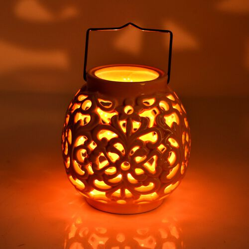 Hand Made Flower Pattern Orange Colour Ceramic Outdoor Candle Holder-Lantern