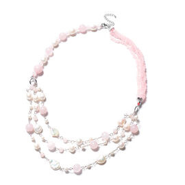 GP- Rose Quartz and Freshwater Pearl Necklace (Size 24 with 3 inch Extender) in Rhodium Overlay Ster