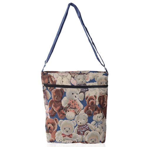 Multi Colour Bear Pattern Handbag with Adjustable Shoulder Strap (Size 32x27x5.5x36 cm)