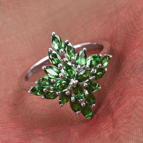 Tsavorite Garnet Cluster Ring in Platinum Overlay Sterling Silver 1.75 Ct.