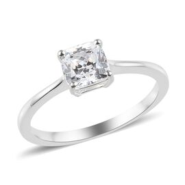 J Francis - Sterling Silver (Cush) Solitaire Ring Made with SWAROVSKI ZIRCONIA 1.00 Ct.