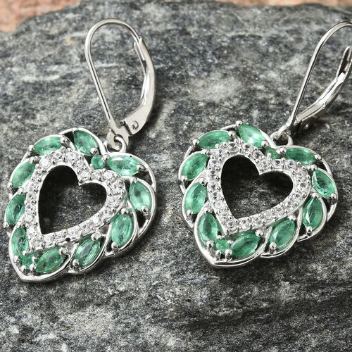 Kagem Zambian Emerald (Mrq), Natural Cambodian Zircon Heart Lever Back Earrings in Platinum Overlay Sterling Silver 2.250 Ct.