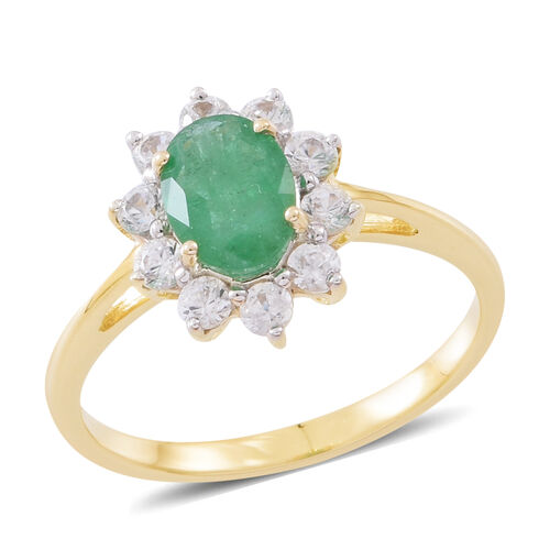Limited Edition- 9K Yellow Gold AAA Rare Size Kagem Zambian Emerald (Ovl 1.25 Ct 8X6mm) Natural White Cambodian Zircon Floral Ring 2.250 Ct.