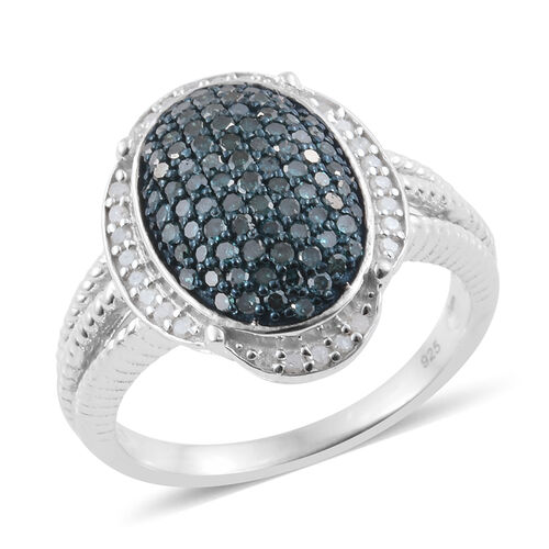 Blue Diamond (Rnd), White Diamond Ring in Platinum Overlay Sterling Silver 1.000 Ct. Silver wt 6.00 Gms.