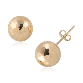 9K Yellow Gold Diamond Cut Ball Stud Earrings (with Push Back)