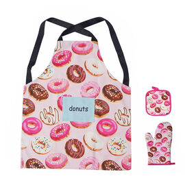 3 Piece Set - Digital Printed 1 kitchen Glove, 1 Pot Holder, and 1 Apron with Pocket in Multi (Size