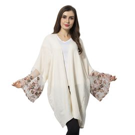 White and Multi Colour Flower Pattern Lace Sleeve Kimono (Size 90x70 Cm)