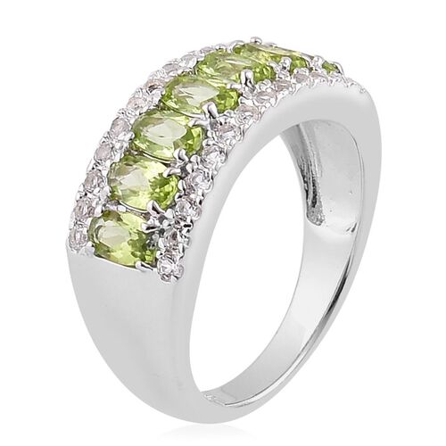 AA Hebei Peridot (Ovl), White Topaz Ring in Platinum Overlay Sterling Silver 2.150 Ct.