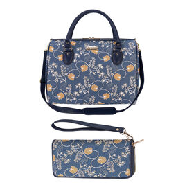 Signare Tapestry -Travel Bag in Austen Blue Design with Strap (39x27x20cm) with Free RFID Blocking W