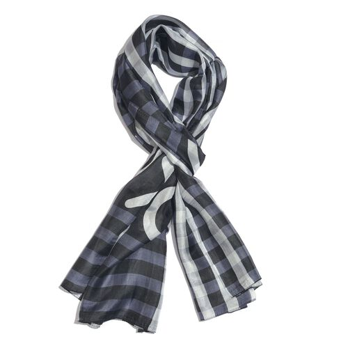 100% Mulberry Silk Black, Grey and White Colour Handscreen Tic Toe Checker Printed Scarf (Size 180X1
