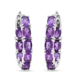 Thursdays Treasures Deal- Lusaka Amethyst Hoop Earrings in Rhodium Overlay Sterling Silver 7.74 Ct,