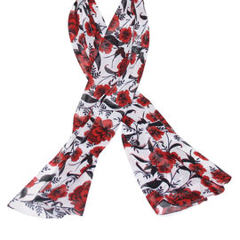 SUGARCRISP Chiffon Red, White and Black Floral Printed Scarf (152x45cm)