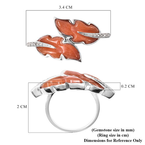 Isabella Liu Leaf Collection - Carved Red Jade and Natural Cambodian Zircon Leaf Bypass Ring in Rhodium Overlay Sterling Silver 6.62 Ct.