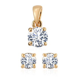 ELANZA Simulated Diamond (Rnd) Solitaire Pendant and Stud Earrings (with Push Back) in 14K Gold Overlay Sterling Silver