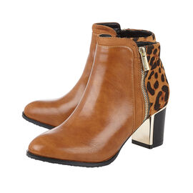 Lotus Tan & Leopard Greeve Ankle Boots