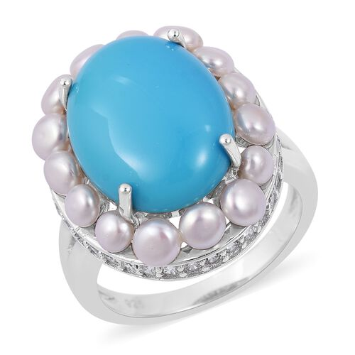 Limited Edition - Rare Size Sleeping Beauty Turquoise (Ovl 16X12 mm 6.25 Ct), Fresh Water Pearl and Natural White Cambodian Zircon Ring in Rhodium Plated Sterling Silver 10.835 Ct. Silver wt 5.01 Gms.