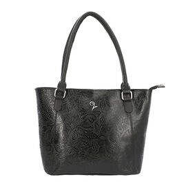 Lucy Q - 100% Genuine Leather Shoulder Bag (Size 32x11x28 Cm) - Black