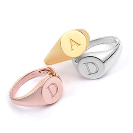 Personalised Engraved Initial Round Signet Ring