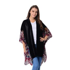 Black and Multi Colour Flower Embroidery Lace on Sleeves Kimono (Size 91x80 Cm)
