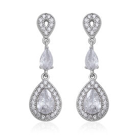ELANZA Simulated Diamond (Pear, Rnd) Earrings (with Push Back) in Rhodium Overlay Sterling Silver 1.